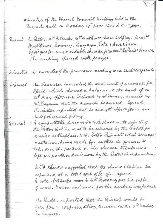 Minutes of Church Council recording Revd Clarke's move to the Botha Regiment